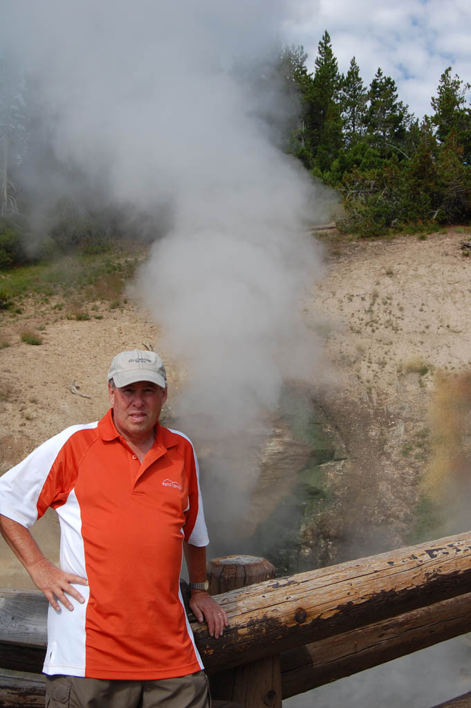 Steve Caswell at Dragon's Mouth Spring in Yellowstone National Park