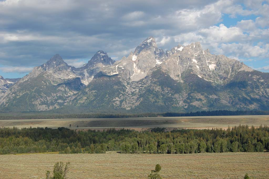 Early morning view of the Grand Tetons in the summer